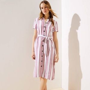 LOFT Stripped Dress With Belt